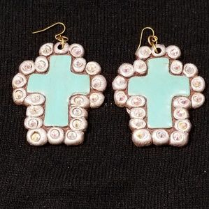 Cross turquoise bling earrings
